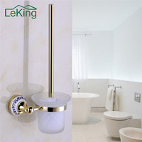 1set European Style Brass Crystal Toilet Brush Holder Gold Plated Toilet Brush Bathroom Products Bathroom Accessories