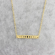 GORGEOUS TALE Stainless Steel Geometric Bar Pendant Moon Necklace Vintage Long Bar With Lunar Eclipse Map Necklace for Wome