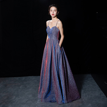 Fashion Shining Star Prom Evening Dresses Long Ever Pretty Sexy Spaghetti Strap Sequined Sparkle New Formal Party Gowns 2019