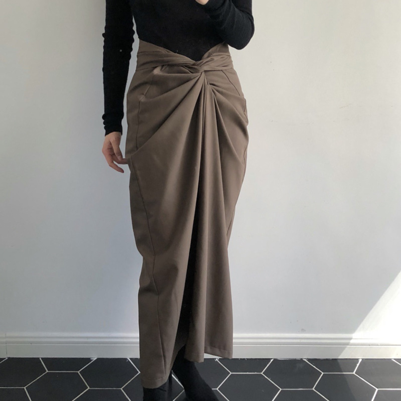 LANMREM 2020 New Arrival Women Fashion Bandage High Waist Pleated Skirt Female Solid Color Sexy Spring Autumn Bottoms TA991