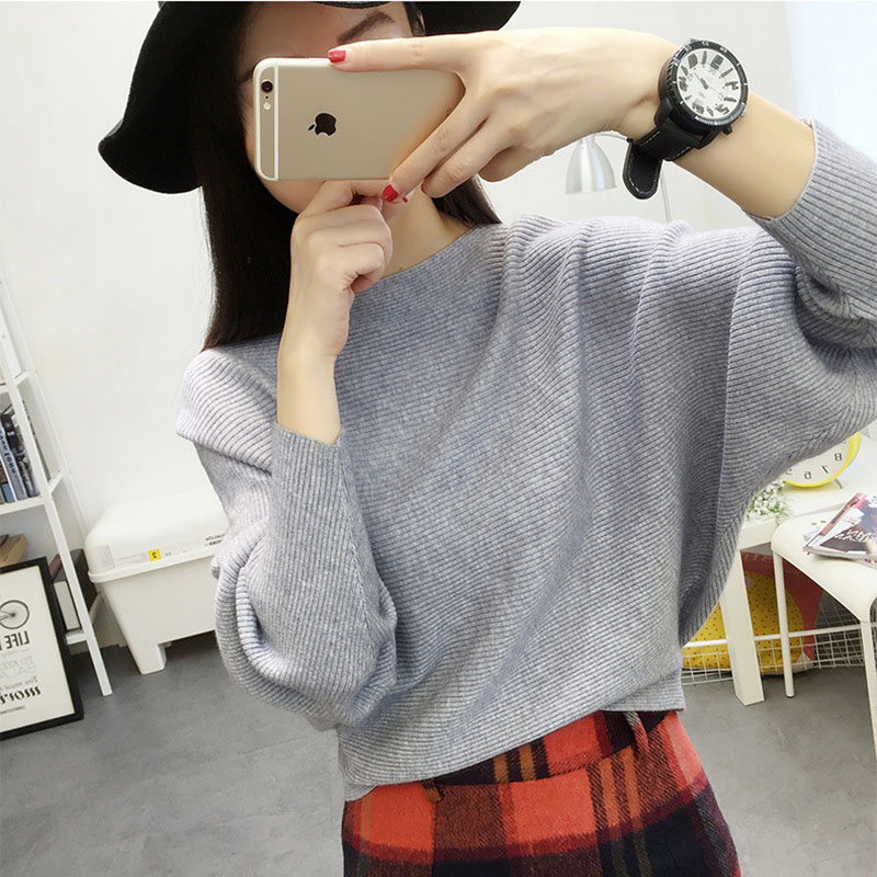 Batwing Sleeve Loose Autumn Women Pullover Sweater Yellow Knit Fashion Female Pull New Arrival Striped Pullovers And Sweaters #2