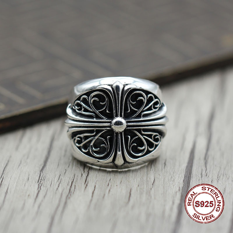 S925 pure silver men's ring personality Do old restoring ancient ways The punk style The crusader's simple and closed classic punk style pure color hollow out ring for women