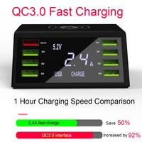 2019 Latest 9 In 1 Wireless Charger QC 3.0 Fast Charging 8USB Port Type C Charging Dock For Smartphones And Tablet