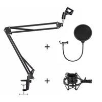 Professional Microphone Suspension Boom Scissor Arm Stand & Metal Shock Mount + Pop Filter for Condenser Microphone
