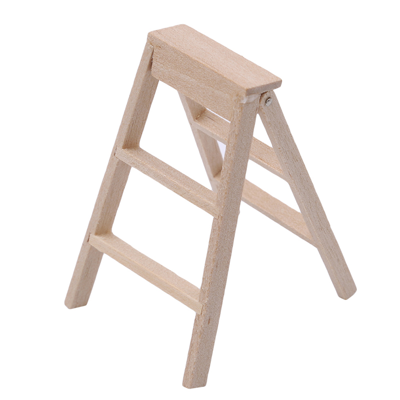 Mini Wooden Ladder Miniature 1:12 Dollhouse Furniture For Dolls Mini 3D DIY Wooden Building Puzzle Doll Accessories Kids Gifts