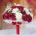 2017 Romántica Boda de dama de Honor Rosa Perlas Flores Artificiales Ramos de Novia Hechos A Mano flores de La Boda Ramos de novia