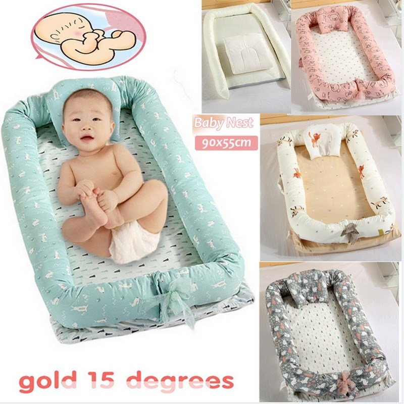 Baby Travel Cot Crib Bed Reversible Baby Bed Snuggle Nest bed infant satin drill Sleeper Bedside Cot with Mattress pillow bumper adorbaby pouch baby crib travel infant travel bed sleeper portable cot folding rocking cradle baby nest cestas para newborn h19