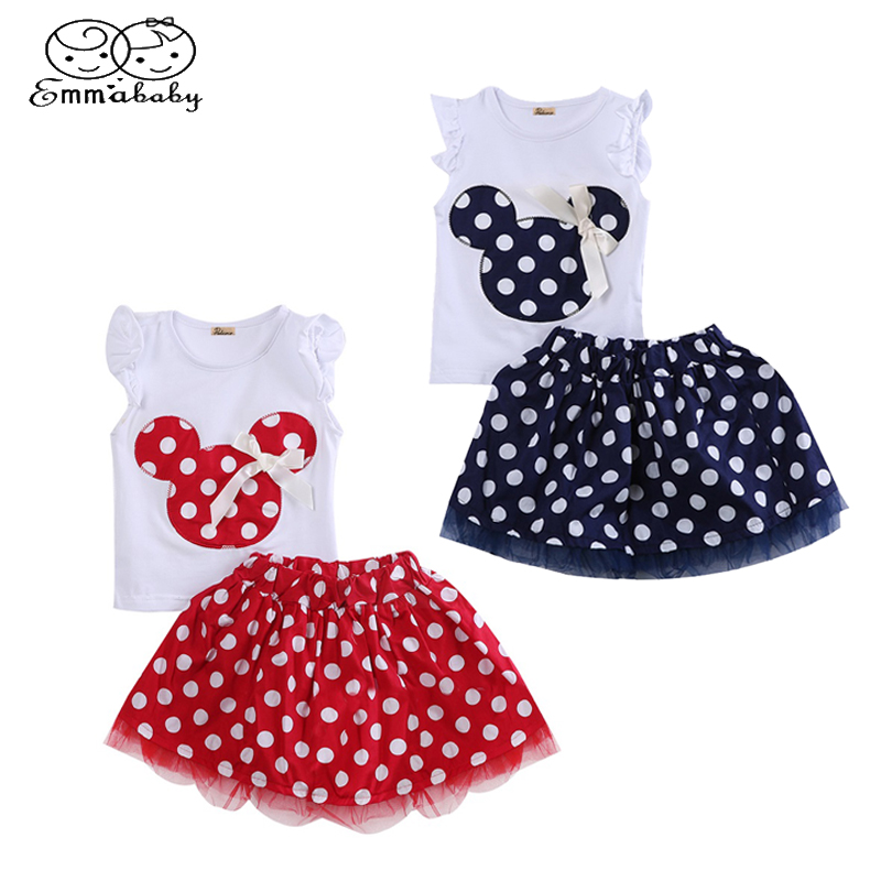 1-4Year Cute Summer Toddler Kids Baby Girl Cotton Tops Sleeveless T-Shirt Vest mouse+Party Dress Skirt Clothes Set 2PCS 2pcs children outfit clothes kids baby girl off shoulder cotton ruffled sleeve tops striped t shirt blue denim jeans sunsuit set