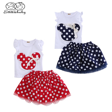 1-4Year Cute Summer Toddler Kids Baby Girl Cotton Tops Sleeveless T-Shirt Vest mouse+Party Dress Skirt Clothes Set 2PCS