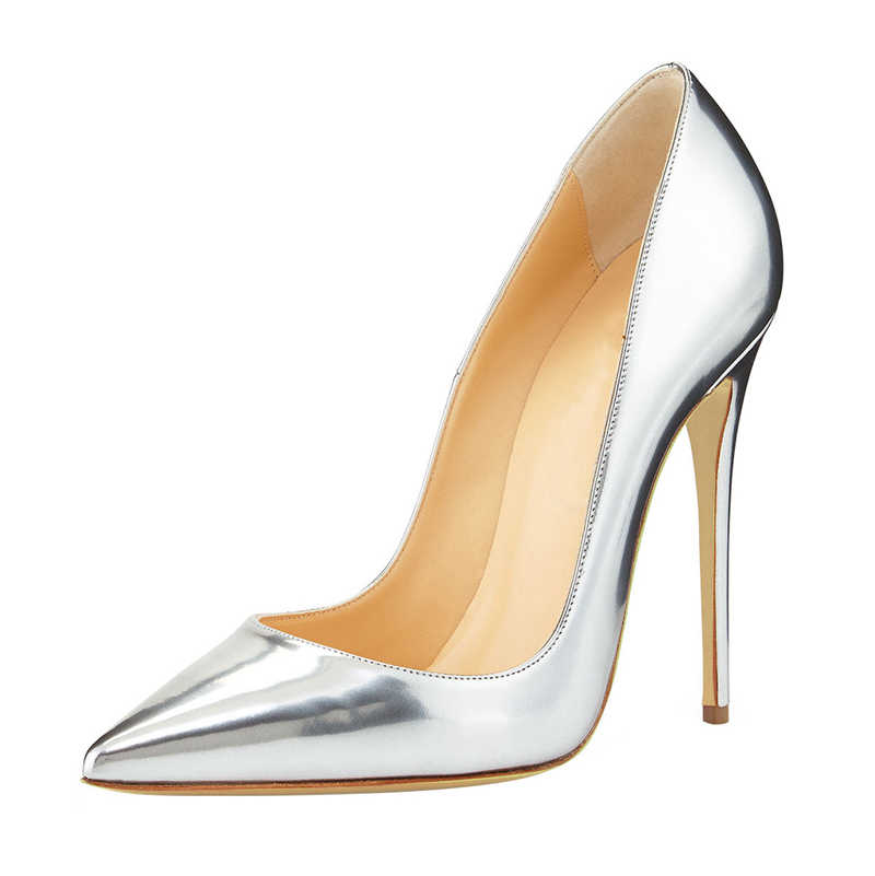 Office Shoes Women Pump Fashion Thin High Heel Genuine Leather Pointed Toe  Classic Gold Ladies Pumps 556fe8d5c6bc
