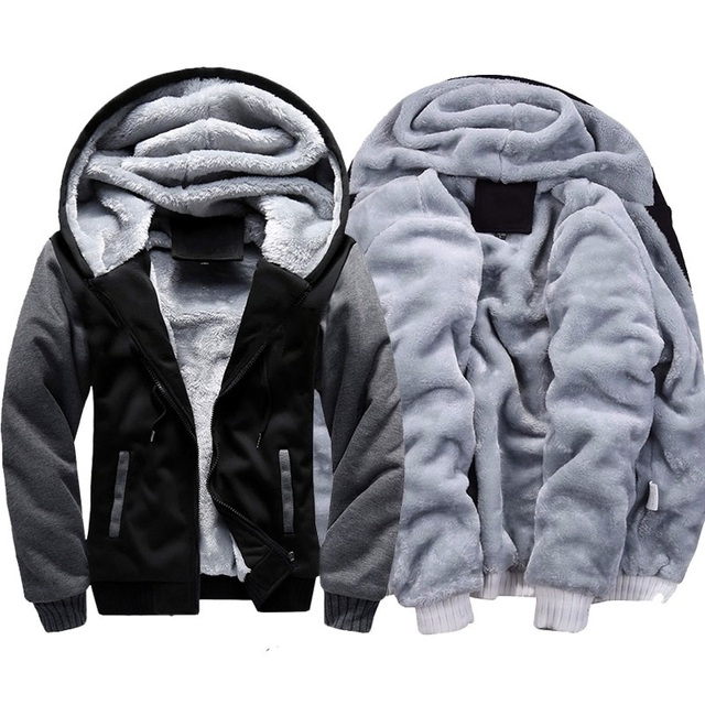 LBL Casual Mens Fleece Warm Hoodies Winter Outwear Thicken Jacket Men Slim Fit Zipper Hooded Hoody Man Streetwear Tracksuit Male