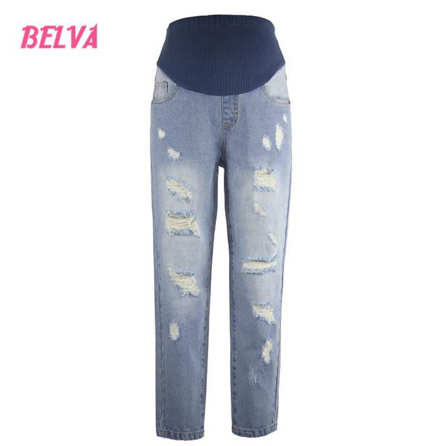 Belva Distrressed calça jeans calças barriga gravidez 100% algodão lavagem moda Magro calças jeans roupas de maternidade calças 543