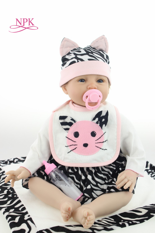 лучшая цена NPK 23'' Lifelike Reborn Bonecas Handmade Silicone Reborn Baby Doll soft Body Vinyl Baby Fashion Children Birthday Gift Toys