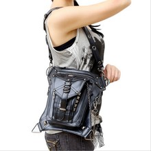 Hot sale PU Leather Punk Retro Rock Gothic Shoulder Bag Men women Leather Waist Bag Packs Women Messenger fashion leg bag