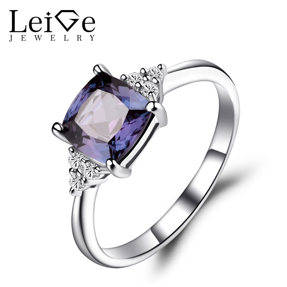 Leige Jewelry Lab Alexandrite Anniversary Rings Solid 925 Sterling Silver Cushion Cut Gemstone June Birthstone Ring Fine JewelryLeige Jewelry Lab Alexandrite Anniversary Rings Solid 925 Sterling Silver Cushion Cut Gemstone June Birthstone Ring Fine Jewelry