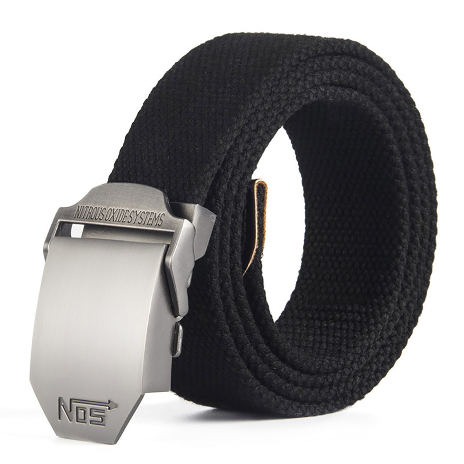 Best Unisex Tactical Belt Top Quality 4 Mm Thick 3.8 Cm Wide Casual Canvas Belt Outdoor Alloy Automatic Buckle Men Belt Nos