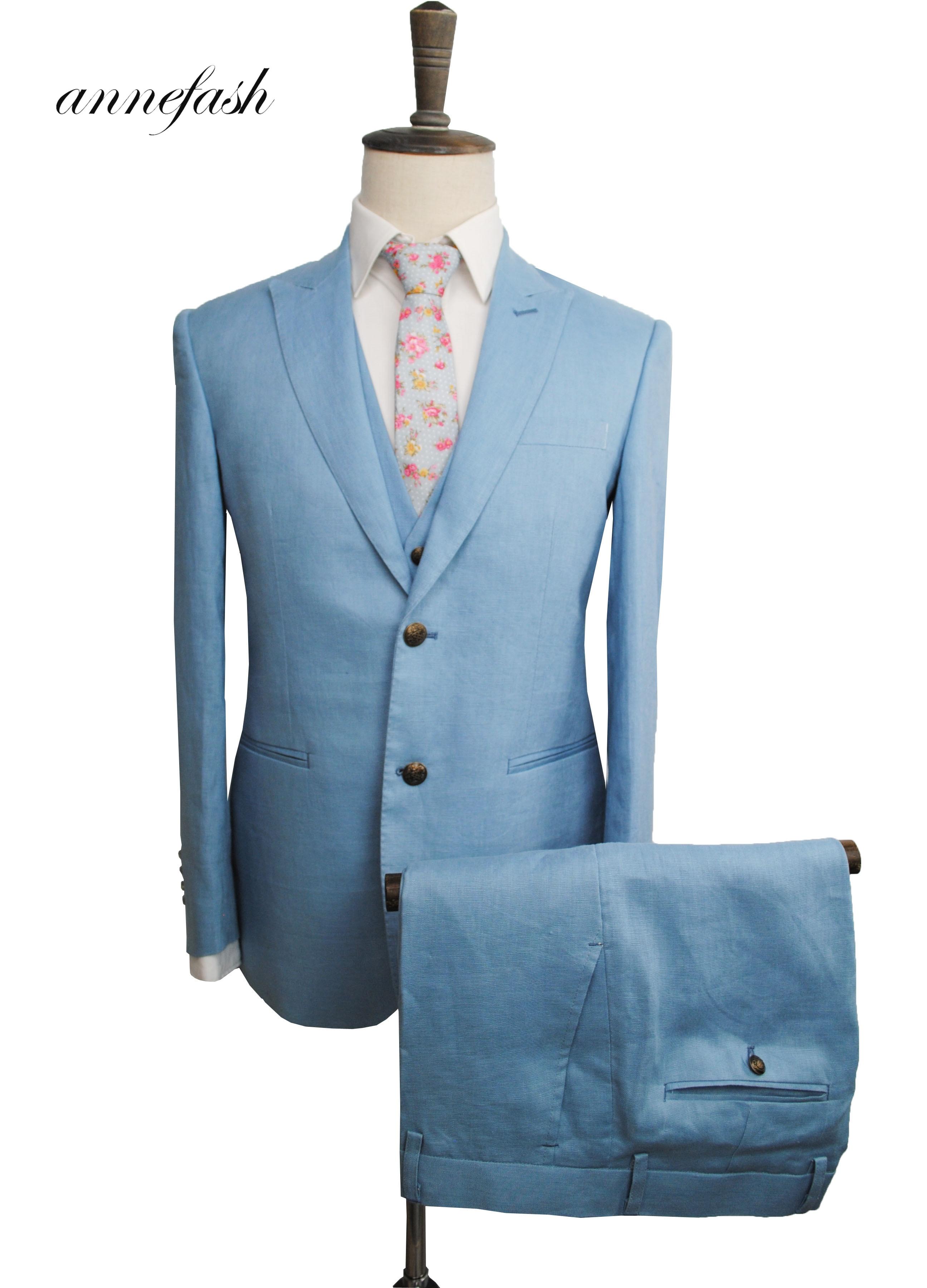Men's Tailor Made light blue linen Suit Sets Wedding Suit 3pcs (Jacket+Pant+vest)