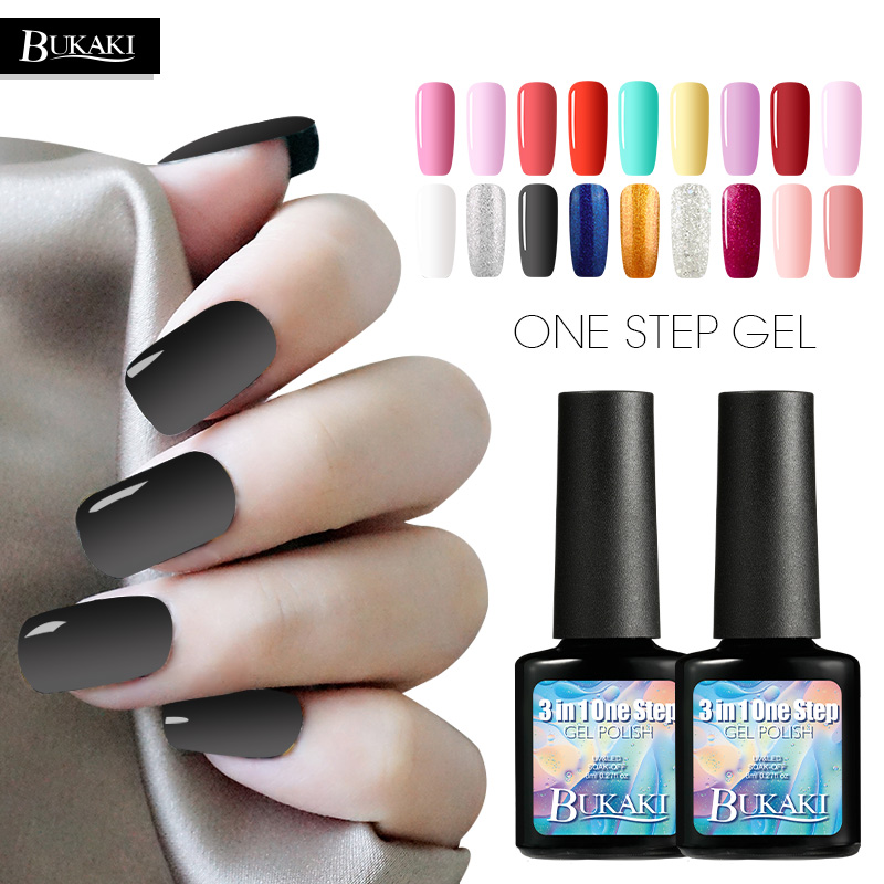 BUKAKI Colors One Step Nail Polish Gel 3 In 1 UV LED Soak Off Nail Gel