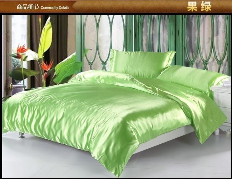Luxury Solid Apple Green Silk Satin Bedding Set King Queen