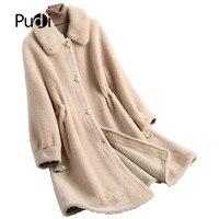 PUDI A18195 1 2019 новинки для женщин модные натуральная шерсть режа куртка Леди норки меховой воротник досуг осень/зима шерстяное пальт