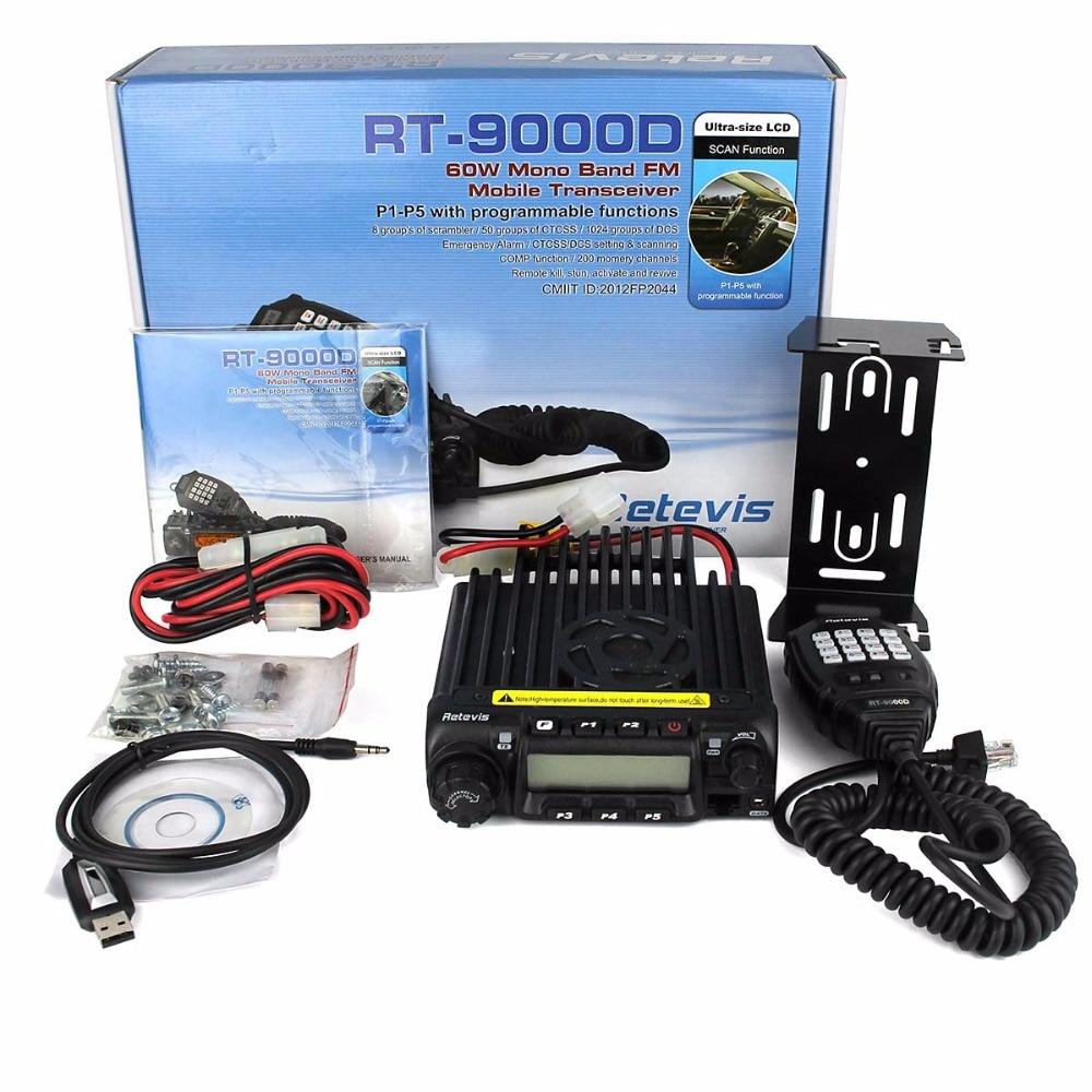 Retevis RT-9000D Mobile Car Radio Transceiver VHF 66-88MHz (or UHF) 60W 200CH Scrambler Walkie Talkie+Speaker MIC+Program Cable
