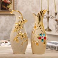With Continental Plating Ceramic Table Vase Household Porcelain Decoration Living Room TV Cabinet Ornaments Wedding Gift