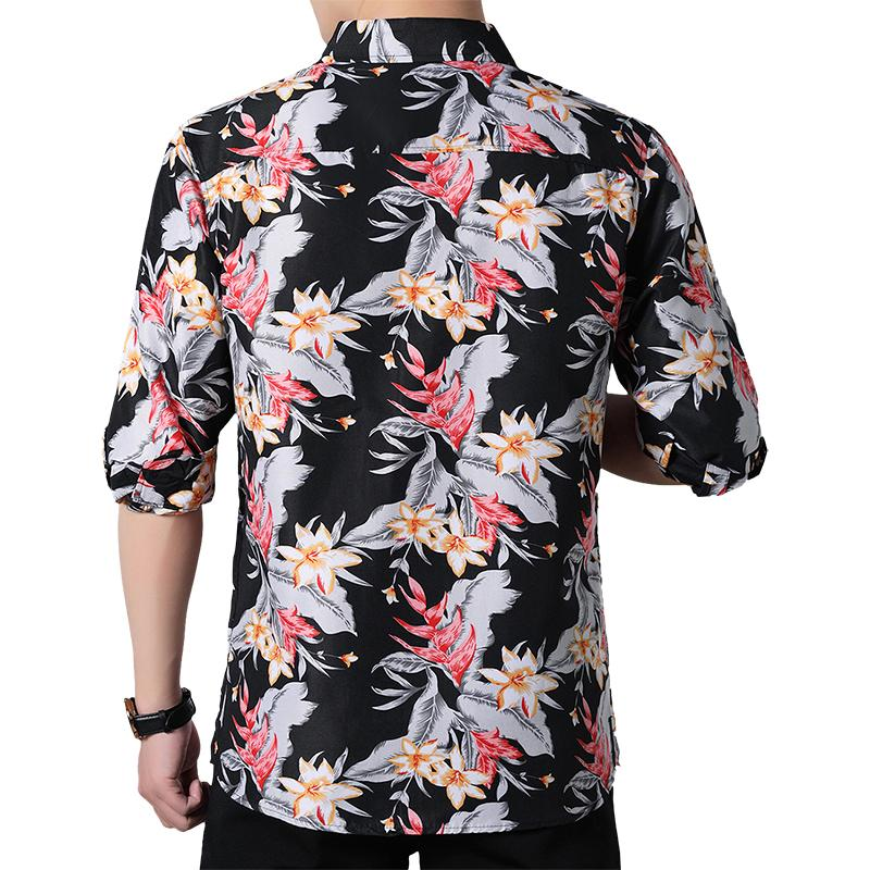 Long sleeve Blouse Men Flower Hawaiian Shirt Mens Dress Shirts Floral Casual Plus Size Black Blue in Casual Shirts from Men 39 s Clothing