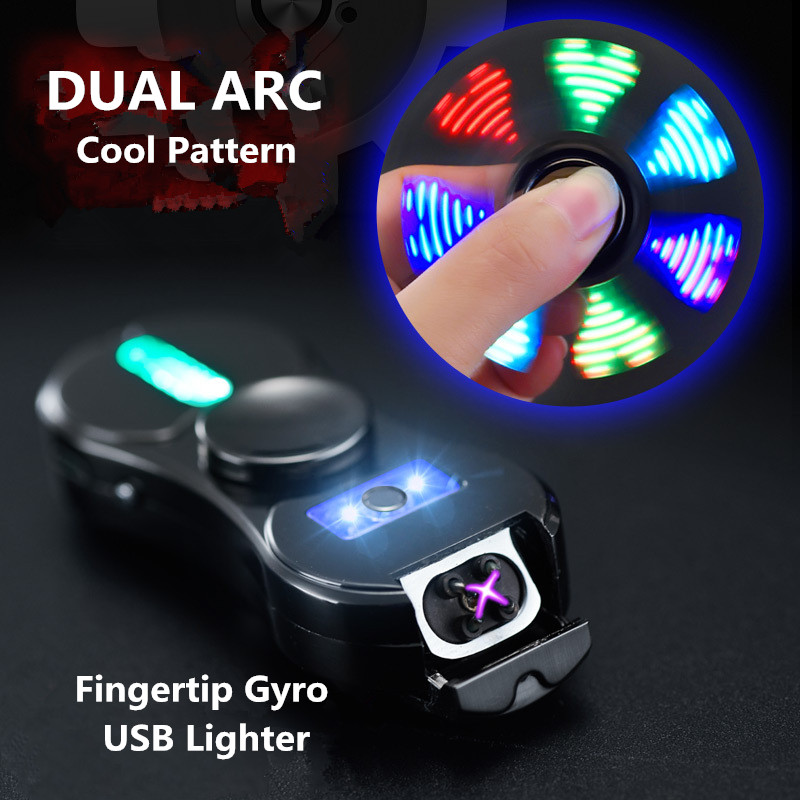 Cool Fingertip Gyro Dual ARC USB Electronic Lighter Hand SPinner Cigarette Lighter With LED Lighter Play 18 Colorful Pattern New