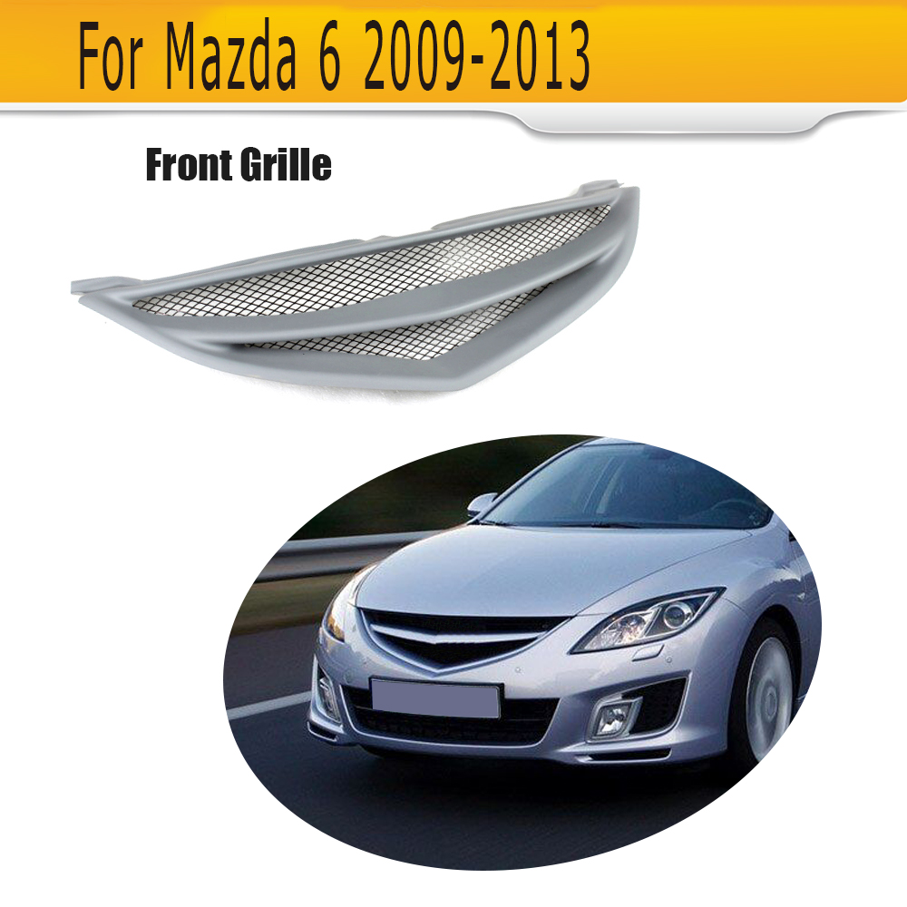 Car Grills Front Bumper Grill Grille For Mazda 6 Mazda 6 Sedan 4 Door Only 2009 - 2013 GS GT I S Grey FRP mazda 6 iii 2013