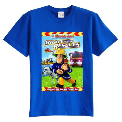 Niños camiseta del verano de manga corta Pequeña Fireman Sam rescue team ropa de bebé 100% algodón niño niña kid t camisa