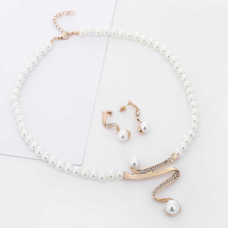 XIYANIKE Neue Imitation Perle Braut Schmuck Set Mode Strass Halskette Ohrringe Frauen Gold Farbe Hochzeit Schmuck Sets N565