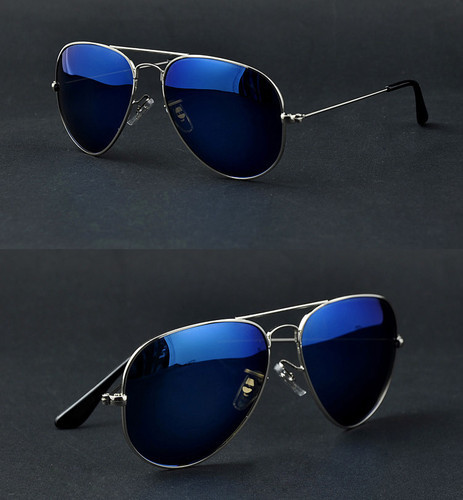 Full Blue Mirrored Aviator Sunglasses Dark Tint Lens