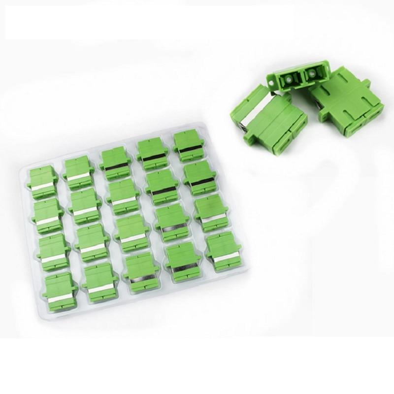 50PCS SC APC Duplex Singlemode Plastic Fiber Optic Adapter SC APC Fiber Flange Coupler