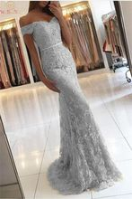 Elegant Gray Mermaid Evening Dresses 2019 Hot Sweetheart Neck Off The Shoulder Appliques Formal Party Prom Gowns robe de soiree
