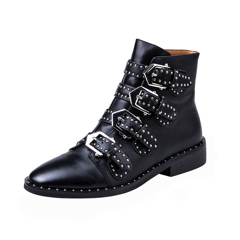 Botas Mujer Caliente Tobillo Chelsea Tacón Show Cuero Tachonado De hebilla As Zapatos Venta Remaches Negro Bajo Multi wnxqF6BYqz