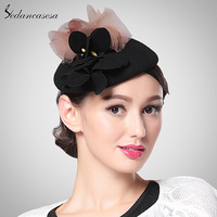 Sedancasesa New Vintage Black Wine Red Pillbox Hat Banquet Patry Wedding Headwear and Fascinators TS033085