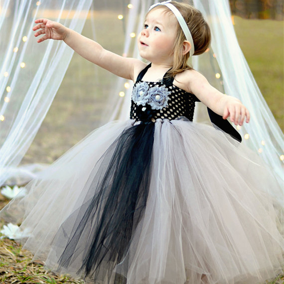 34ccdc91167 Silver Black Flower Girl Tutu Dress Baby Girls Toddler Tea Length Long  White Flowers Tulle Gray Silver Platinum Dresses