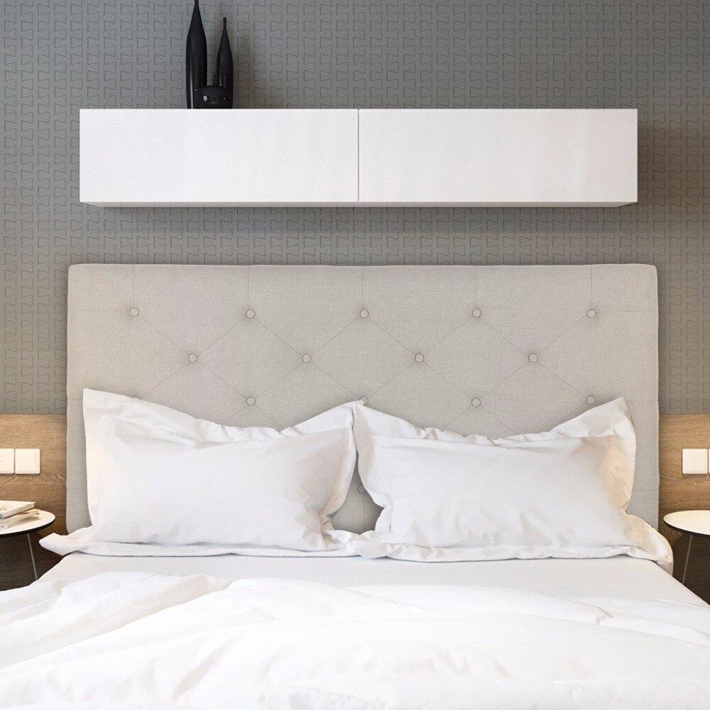 moderno botn mechones de lino cama cabecero tapizado con costura diamante altura ajustable beige aliexpress mvil with como tapizar un cabecero de cama with - Como Tapizar Un Cabecero