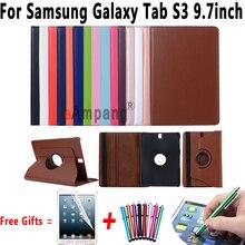360 Grados Que Giran la Cubierta de Cuero Para Samsung Galaxy Tab S3 9.7 Caja con el Soporte y la Función Del Sueño para la Lengüeta Caso S3 9.7 T820 T825
