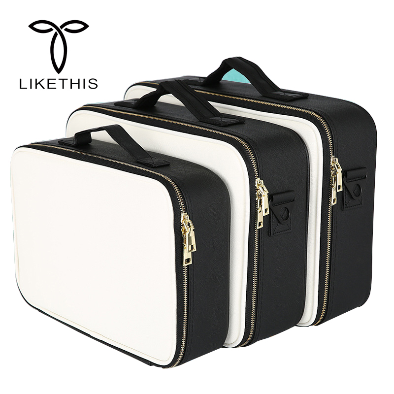 Cosmetic Box High Quality Professional Cosmetic Clapboard Case Large Capacity Storage Handbag Travel Insert Toiletry Makeup bag
