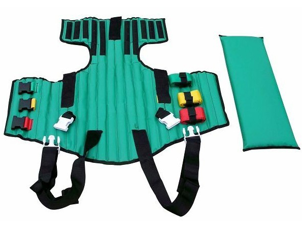 Eemgerncy fitted first aid equipment green brancard Plymouths half-length spine stretcher