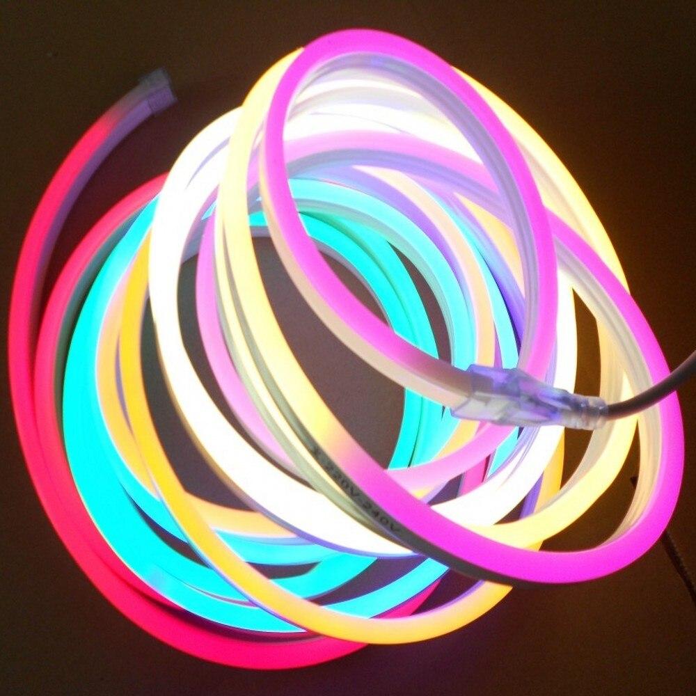 LED Neon Strip 220V 5050 2835 120LEDs/M Soft Neon Tape BAR Light Power Plug RGB Controller 8x16mm 1m 5m 10m 20m 50m 100m