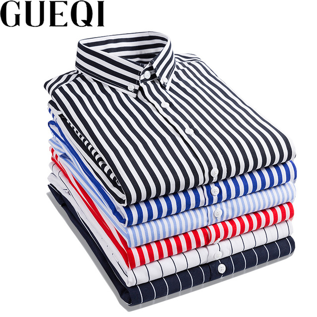 b534751e94b GUEQI Men Fashion Striped Shirts Plus Size M-4XL Candy Colors Long Sleeve  Business Man Casual Cotton Dress Shirts