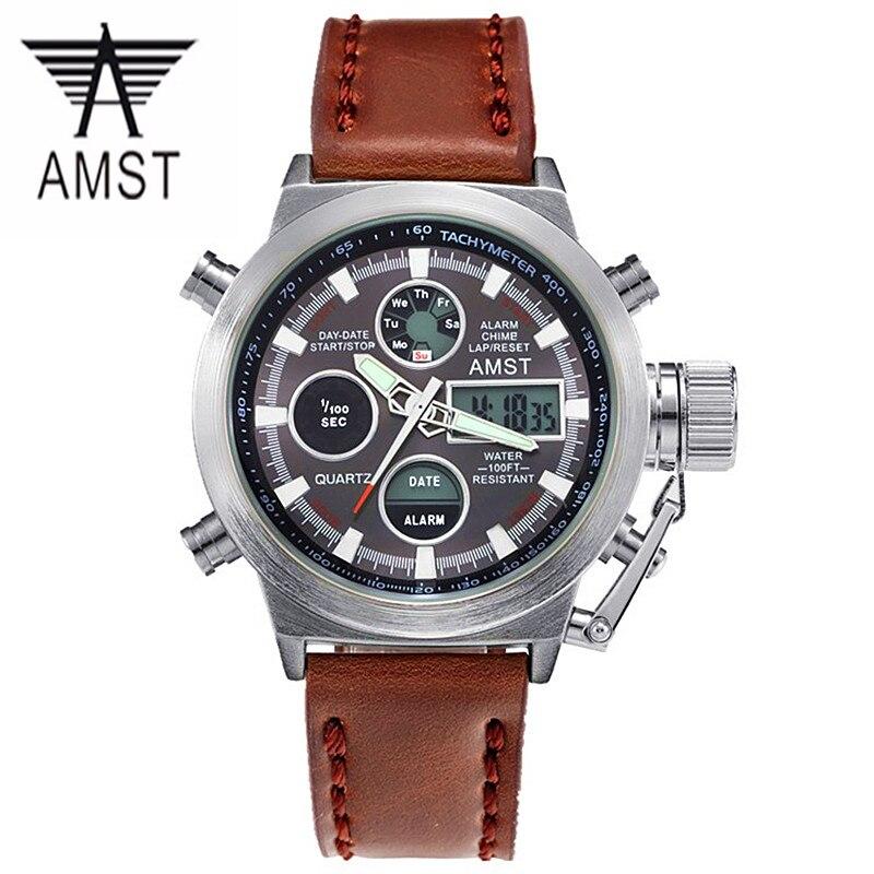 Reloj Hombre 2017 Watches men font b luxury b font brand 50m LED font b Military