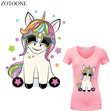 ZOTOONE Cartoon Unicorn Patches Heat Transfer Vinyl Applique Iron on Transfers for Clothing DIY T-shirt Dresses Thermal Press E