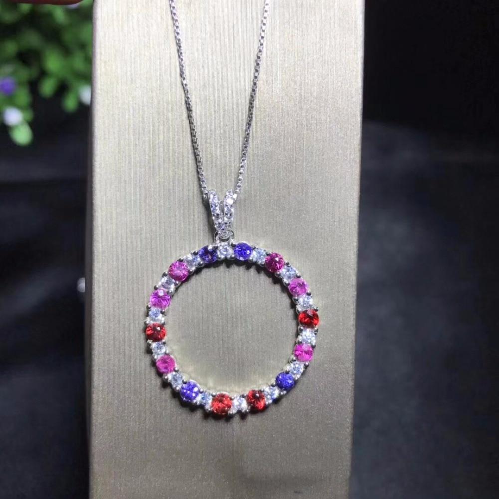 Uloveido femmes bleu saphir multicolore pendentif collier, femmes fin anniversaire 925 bijoux en argent Sterling collier FN322-in Colliers from Bijoux et Accessoires    1