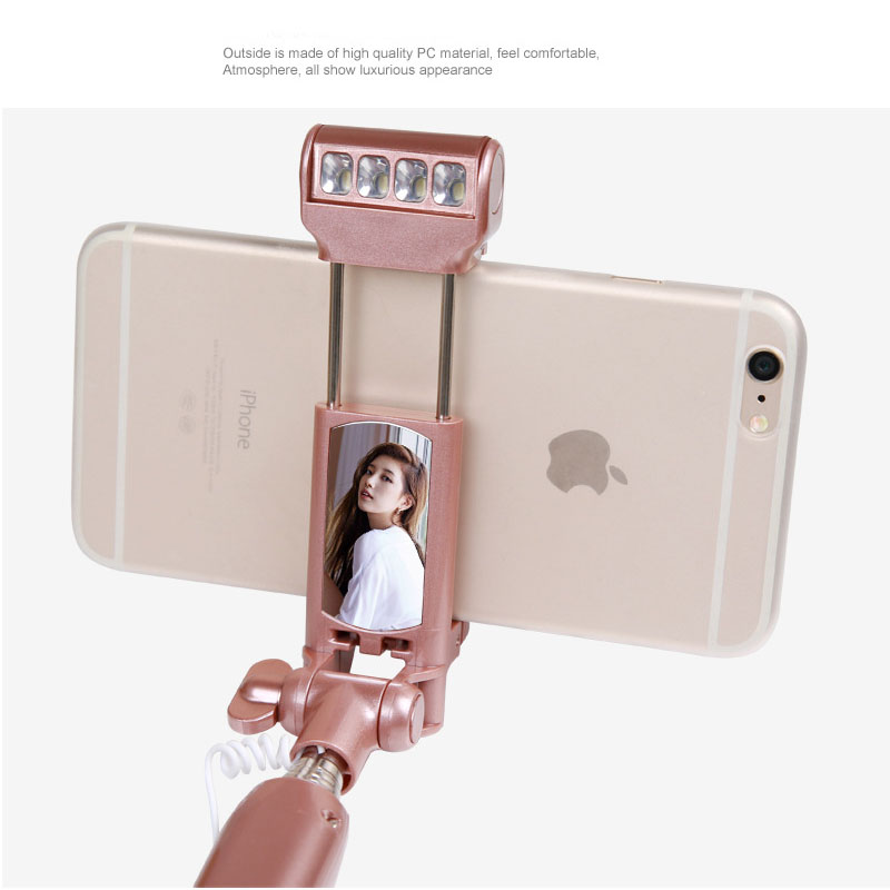 minipai selfie stick with rear mirror bluetooth and light remote shutter monopod fill light for. Black Bedroom Furniture Sets. Home Design Ideas