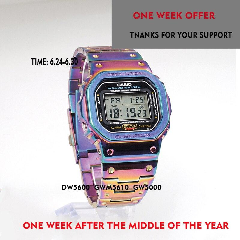 Gshock bracelet et étui pour Casio DW5600 GWM-B5000 GW-M5610 bracelet métallique lunette en acier inoxydable ceinture boîte à outils cadre gshock