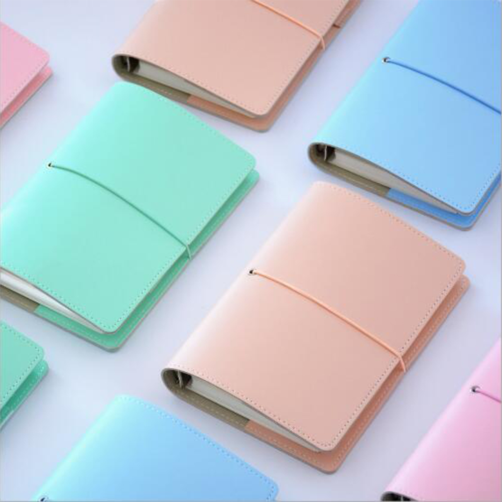 Japan Colored Concise Faux Leather Cover Spiral Planner Portable Straps' Cute Fresh Notebook Office School Stationery Organozer a4 leather discolor manager file folder restaurant menu cover custom portfolio folders office portable pu document report cover