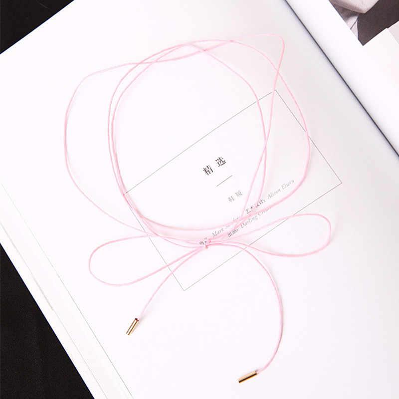 2019 nowy 5 kolory bowknot choker naszyjnik wielowarstwowe skórzane punk długi sznureczek/łańcuszek collier femme sexy komunikat biżuteria prezenty
